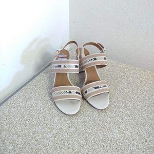 Coach Tan Print White Leather Sandals